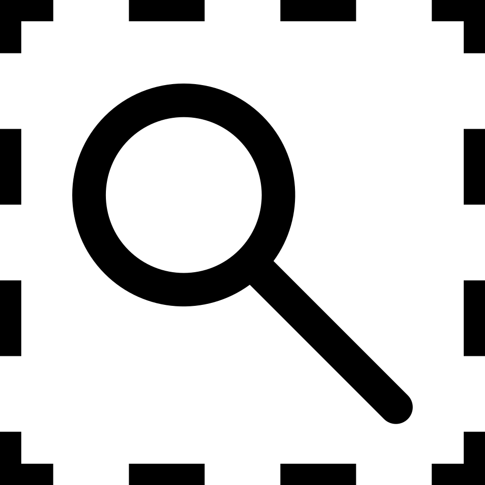 Selection View Interface Symbol Of A Magnifying Glass Inside A Broken Line Square