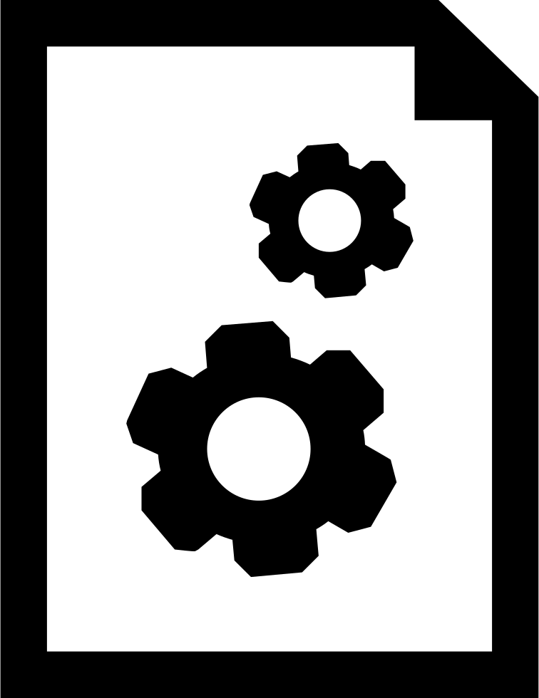 Document Settings Interface Symbol Of A Papers Sheet With Two Gears