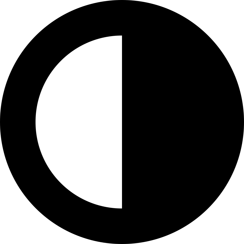 Contrast Interface Circular Symbol Half Black Half White