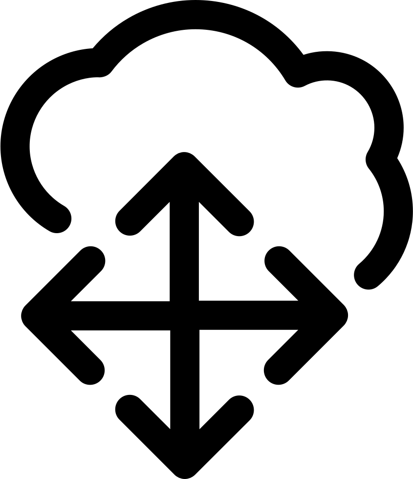Arrows Group Pointing Four Directions On Cloud