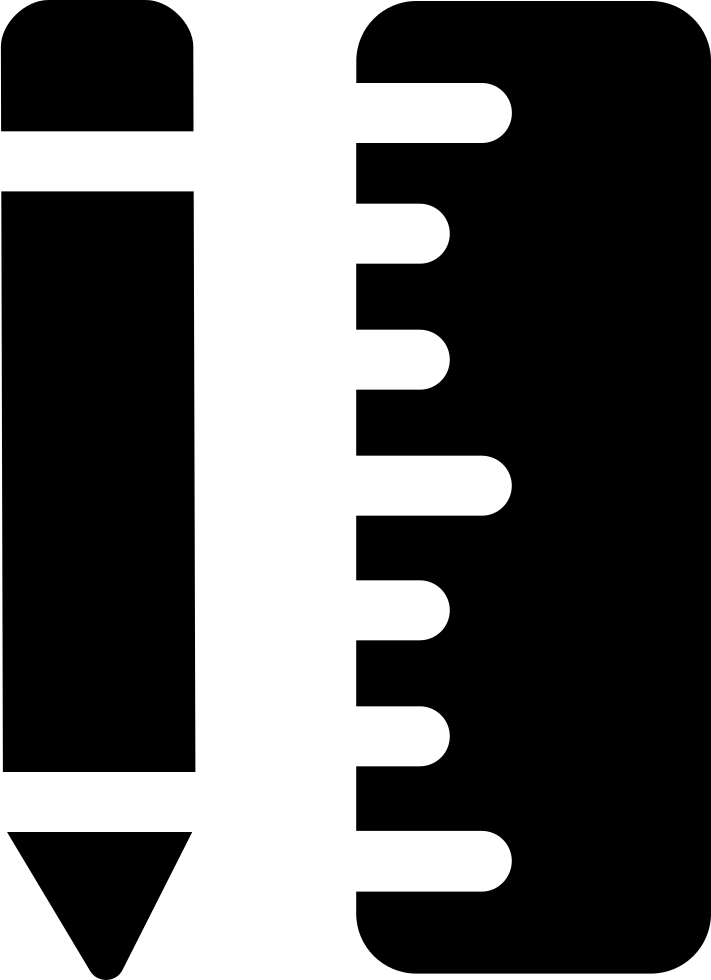 Pencil And Ruler In Vertical Position
