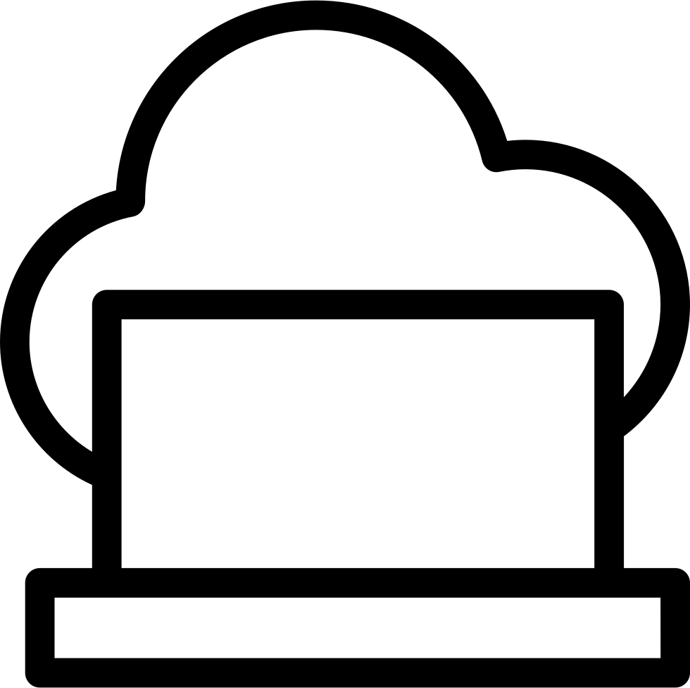 Laptop On Cloud Thin Outline Symbol In A Circle