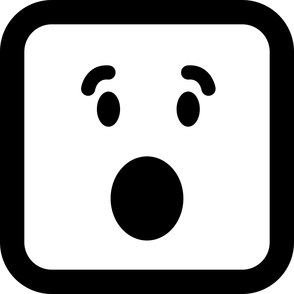 Surprised Emoticon Square Face With Open Eyes And Mouth