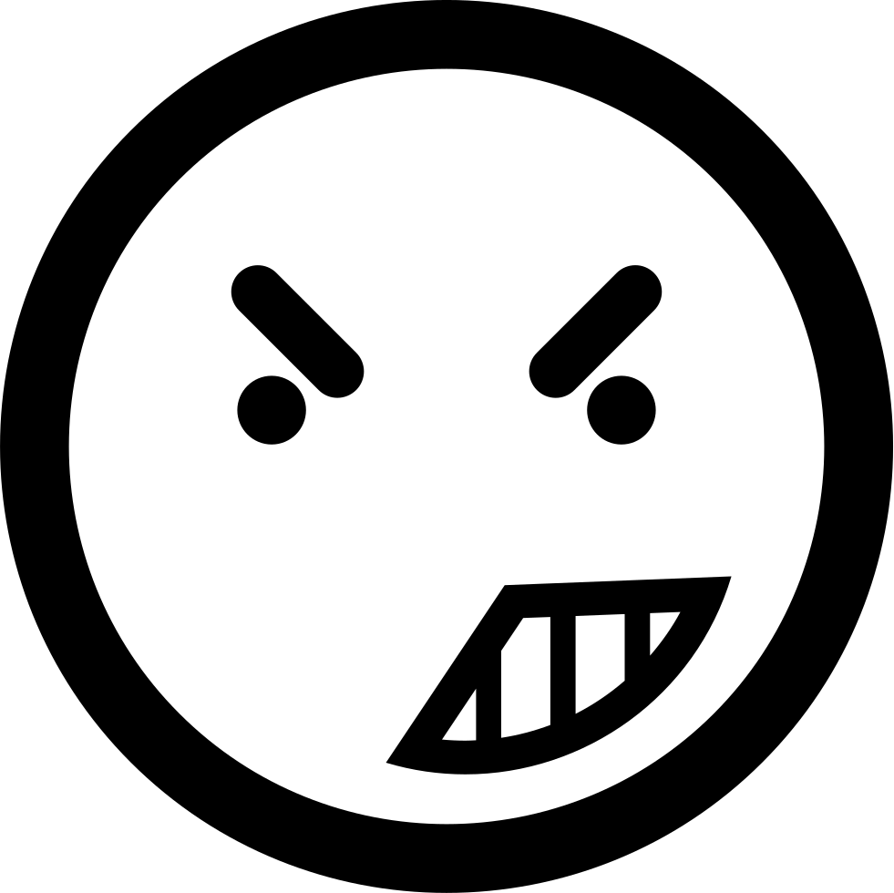 Anger On Emoticon Face Of Rounded Square Outline