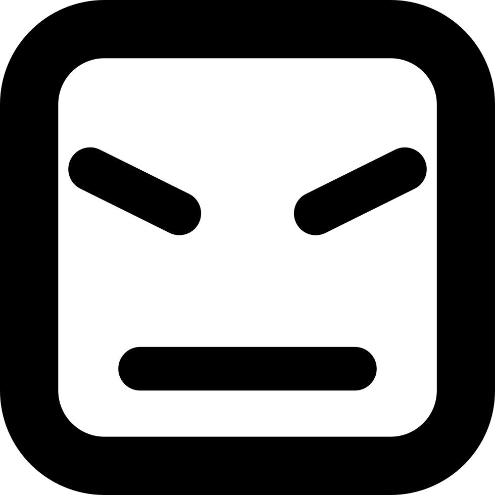 Angry Face Of Square Shape And Straight Lines