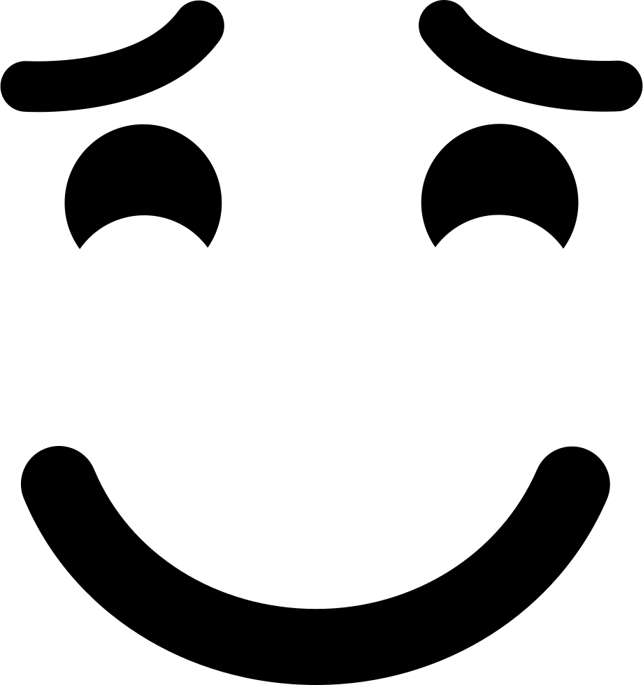 Smiling Emoticon With Raised Eyebrows And Closed Eyes