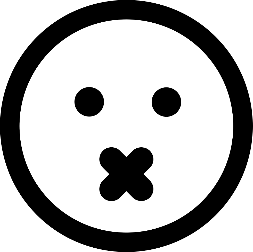 Mute Emoticon Square Face