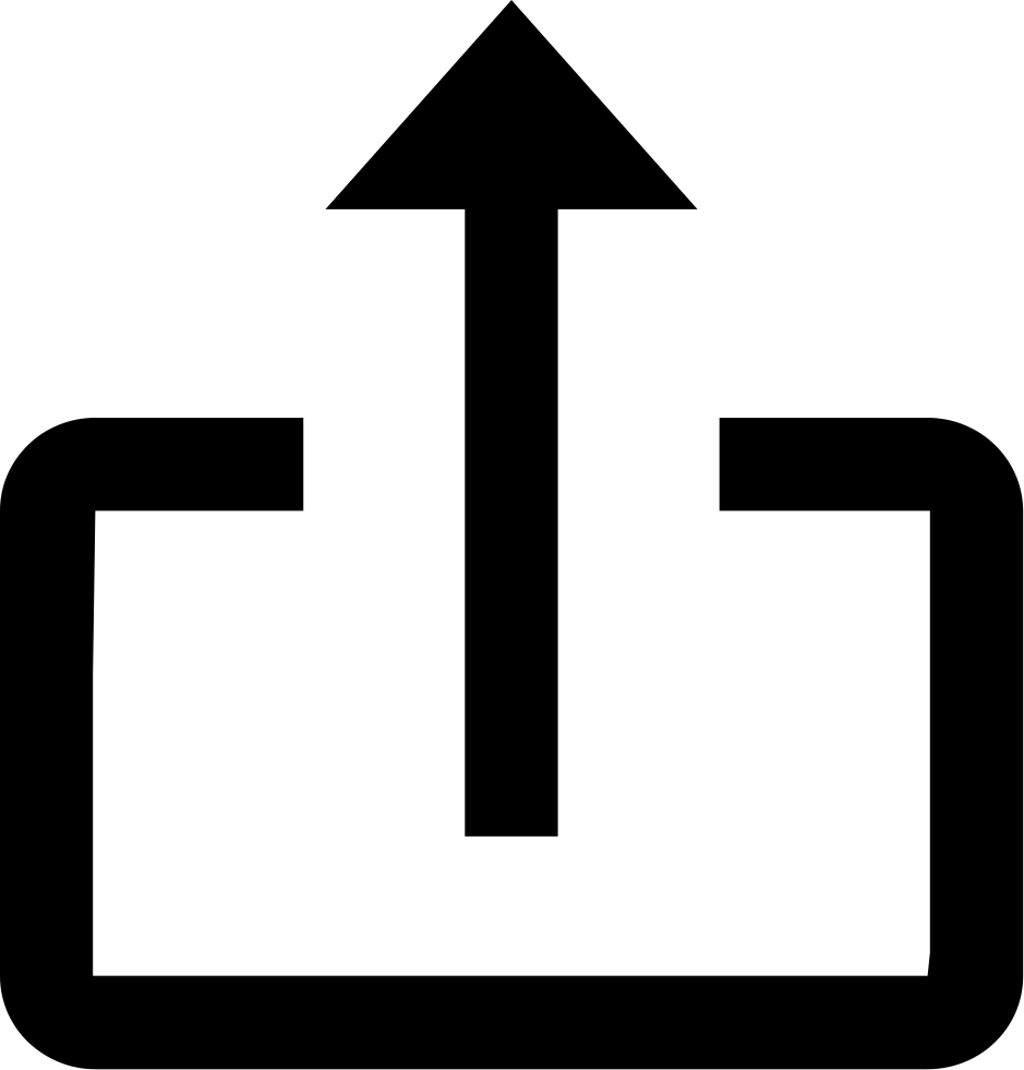 Up Arrow Upload Rectangular Symbol