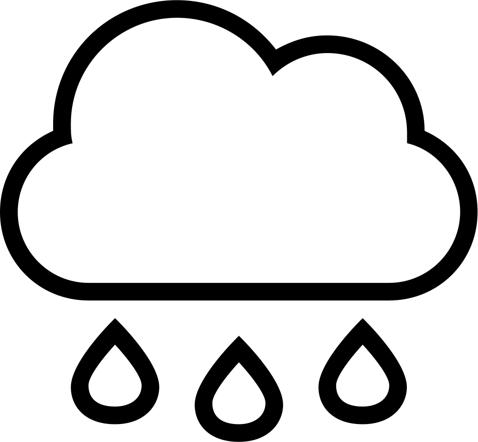 Rain Cloud With Drops Falling Weather Stroke Interface Symbol