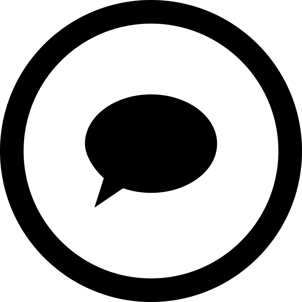 Comment Oval Filled Speech Bubble In Circular Button