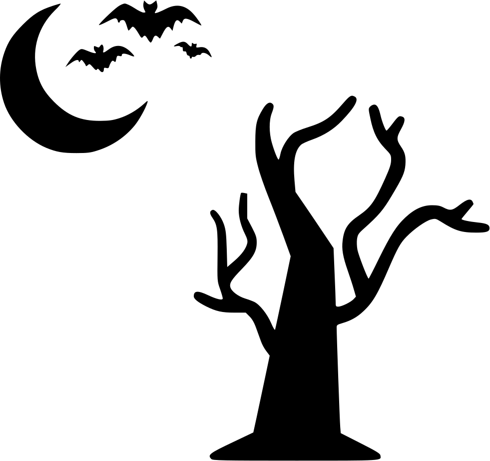 Tree Moon Bats Flying Halloween Night