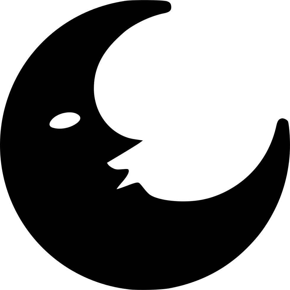 Half Crescent Moon With Face Tattoo: Half Moon Svg Png Icon Free Download (#556567