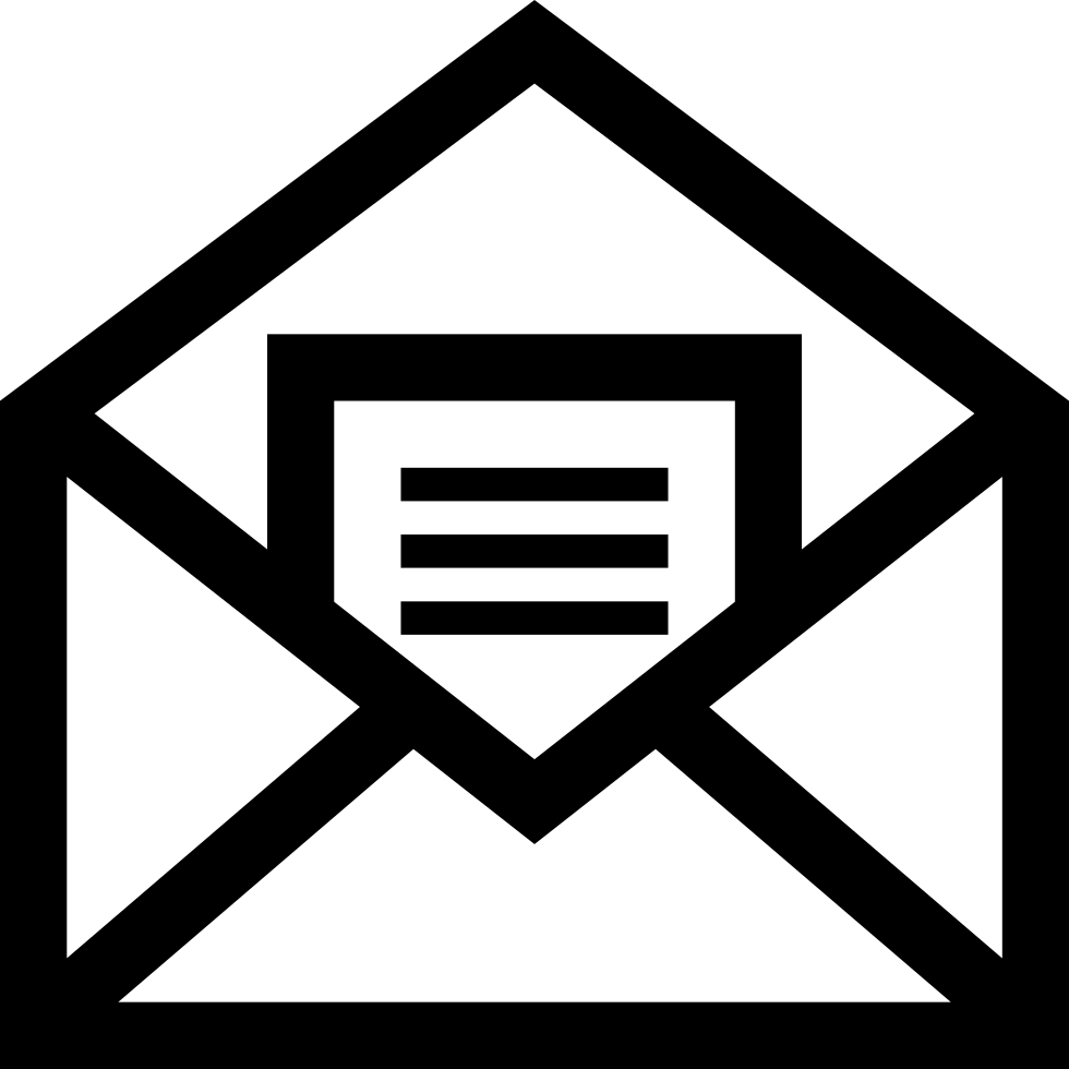 Mail Open Symbol Of An Envelope With A Letter Inside