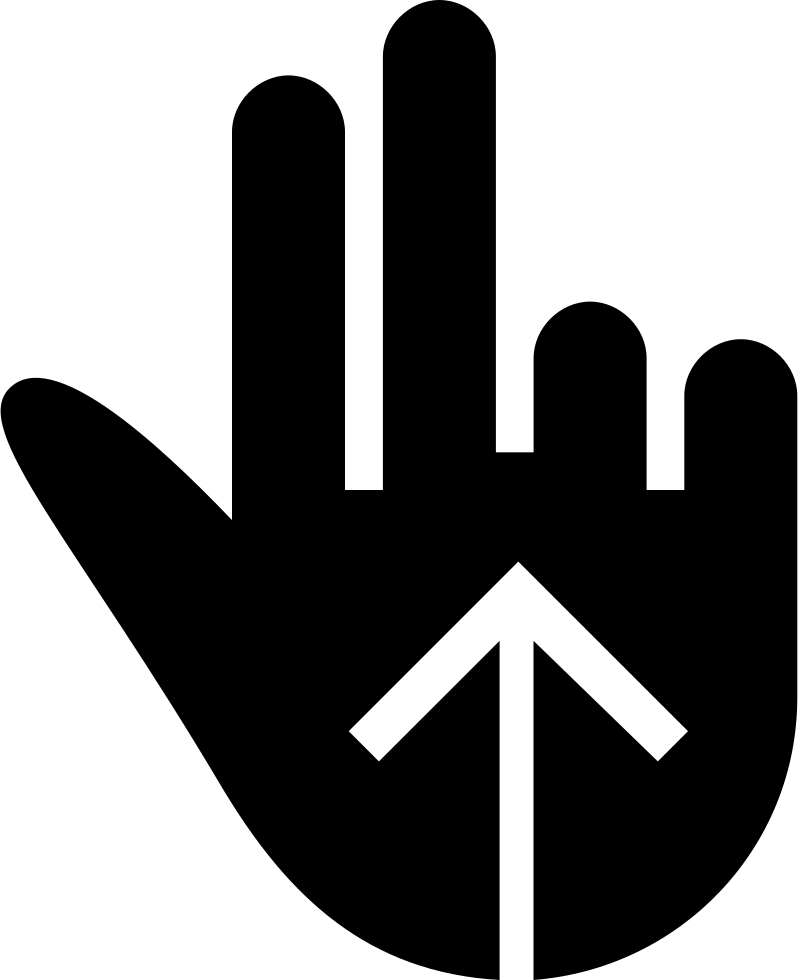 Swipe Up Two Fingers Gesture Black Hand Symbol