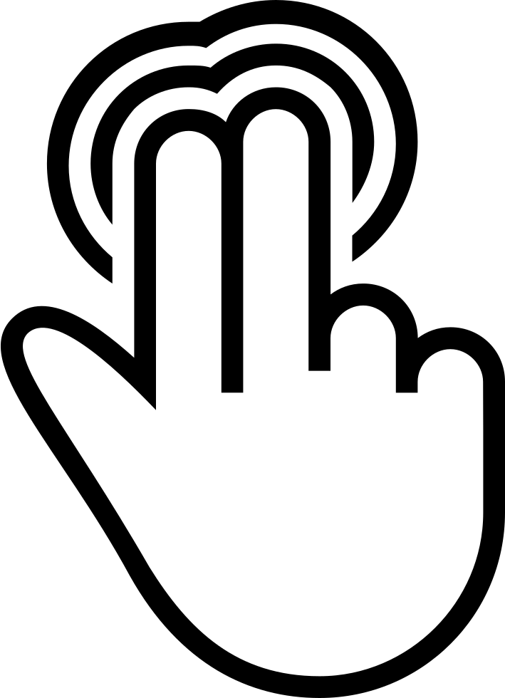 Two Fingers Pressuring Touch Screen Stroke Symbol
