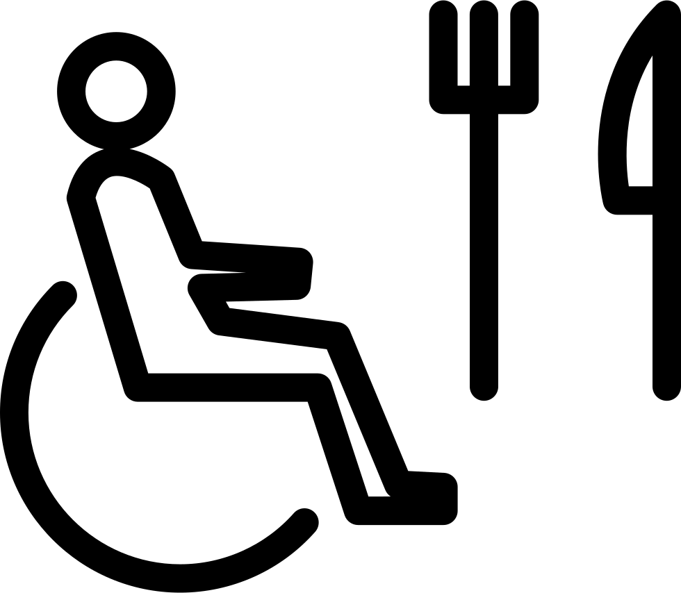 Person On Wheel Chair Outline With Fork And Knife