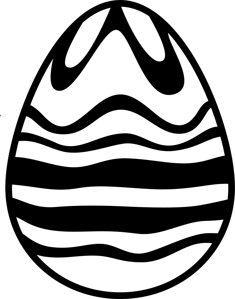 Easter Egg Of White And Black Chocolate Lines Design