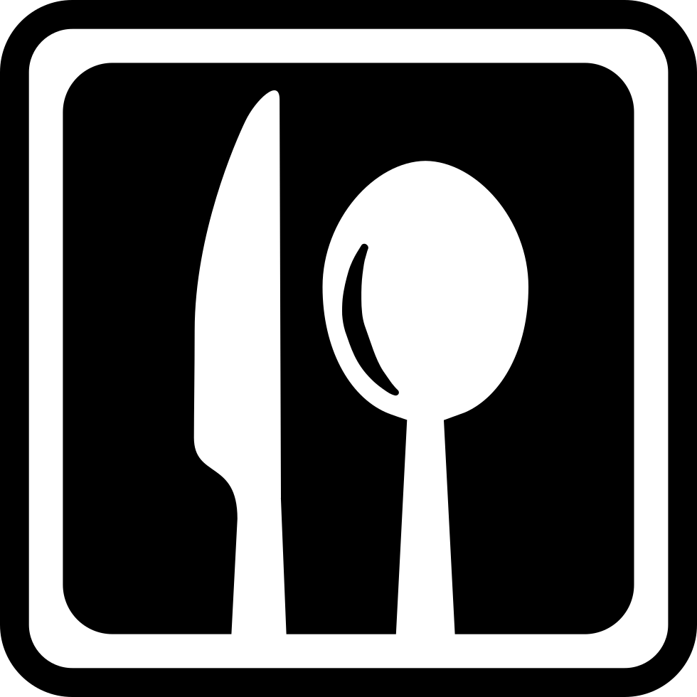 Restaurant Square Interface Symbol With A Knife And A Spoon