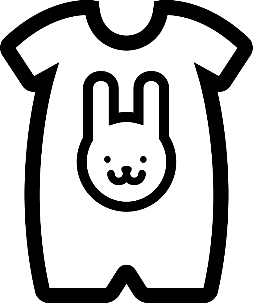 Baby Cloth With A Rabbit Head Outline