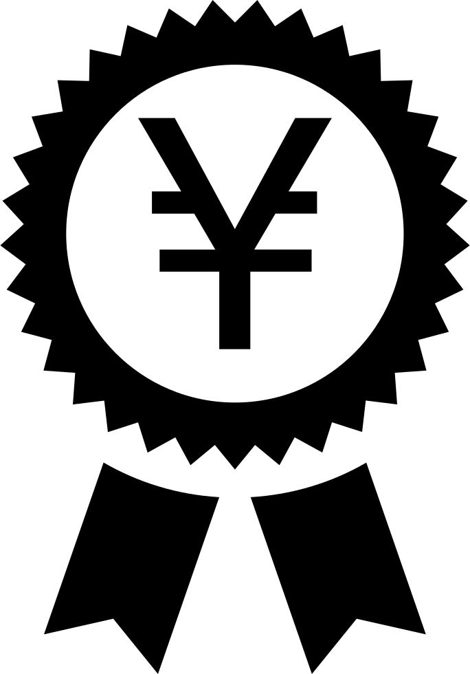 Yen Symbol In A Circular Pennant With Ribbon
