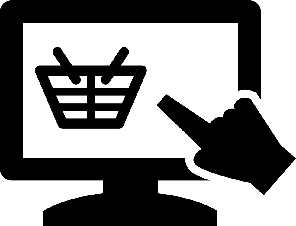 Hand Pointing On A Monitor Screen With A Shopping Basket