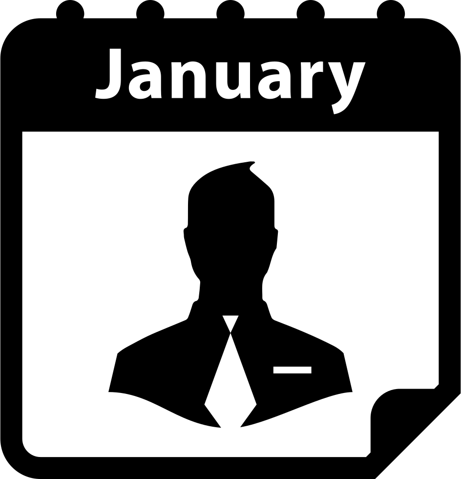 Businessman Symbol On January Calendar Page