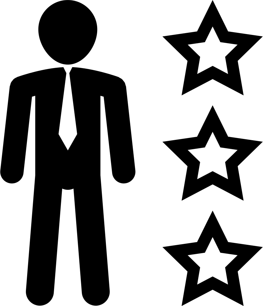 Man In Business Attire With Three Stars Outline