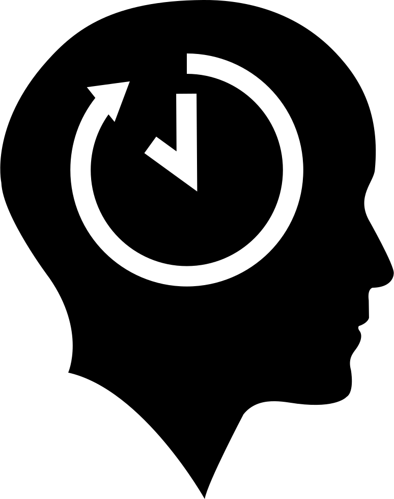 Bald Head With Time Symbol Inside