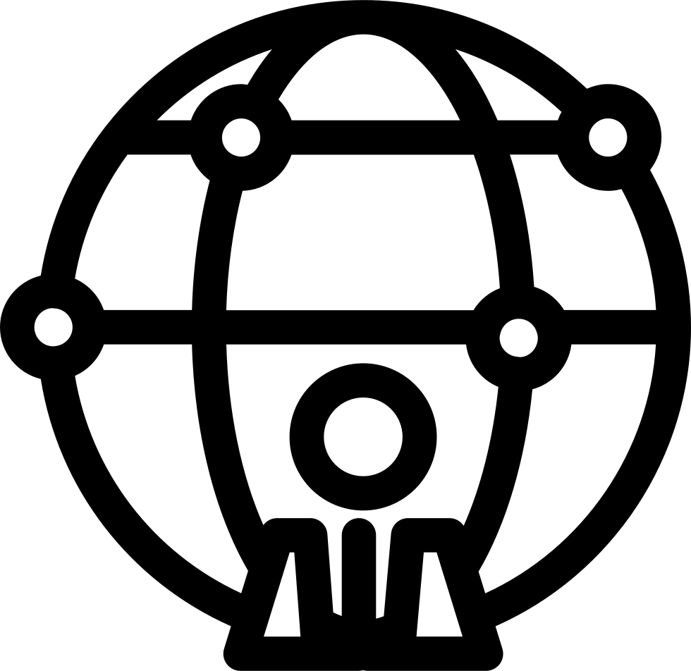 World Person Outline Symbol In A Circle