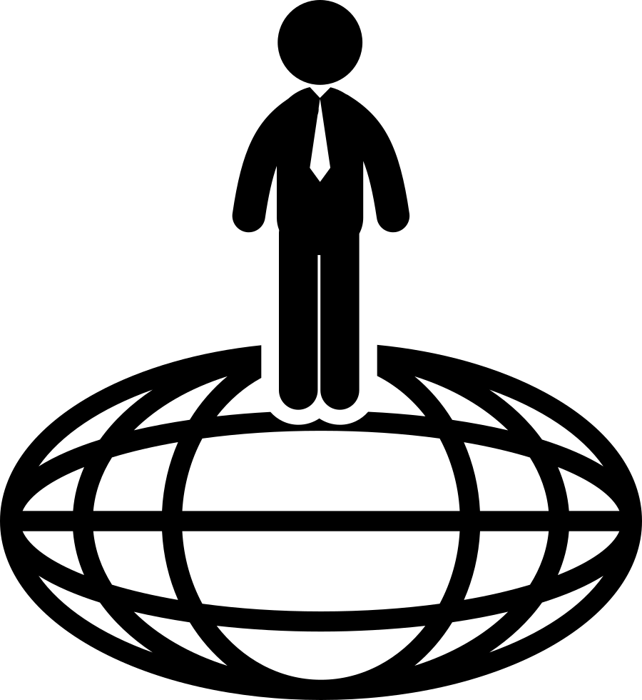 Businessman Standing On Oval Planet Grid