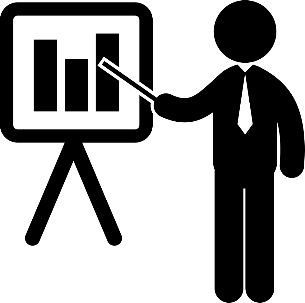 Businessman Pointing A Board With Stats Graphic Of Business