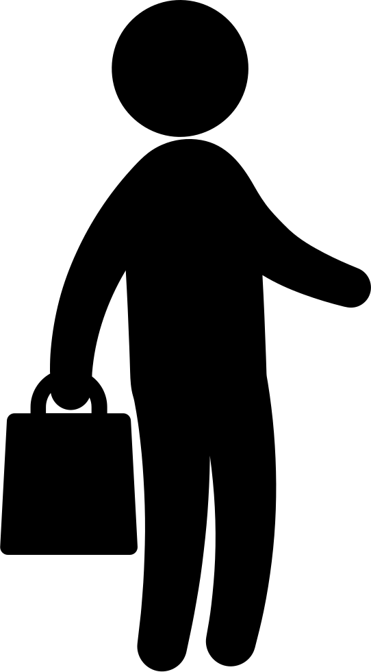 Businessman With Handbag Standing Silhouette