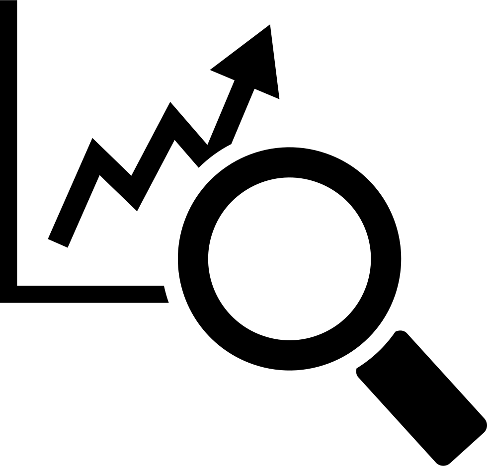 Stocks Graphic With A Magnifier Tool