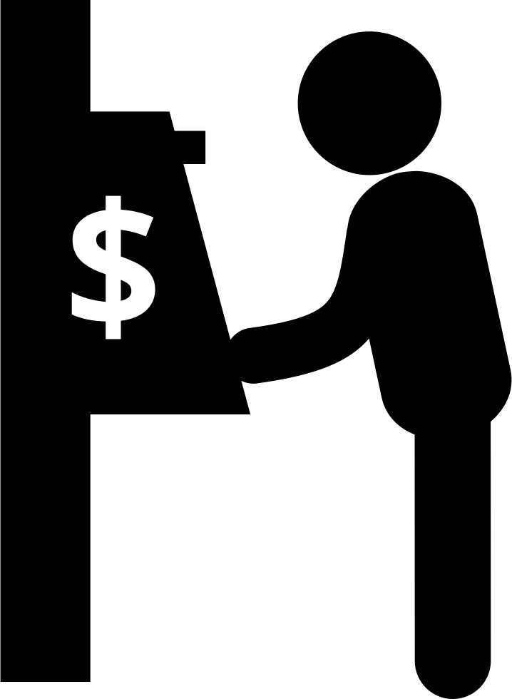 Man And Cash Machine From Side View