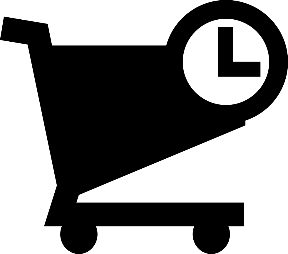 Shopping Cart With Time Symbol