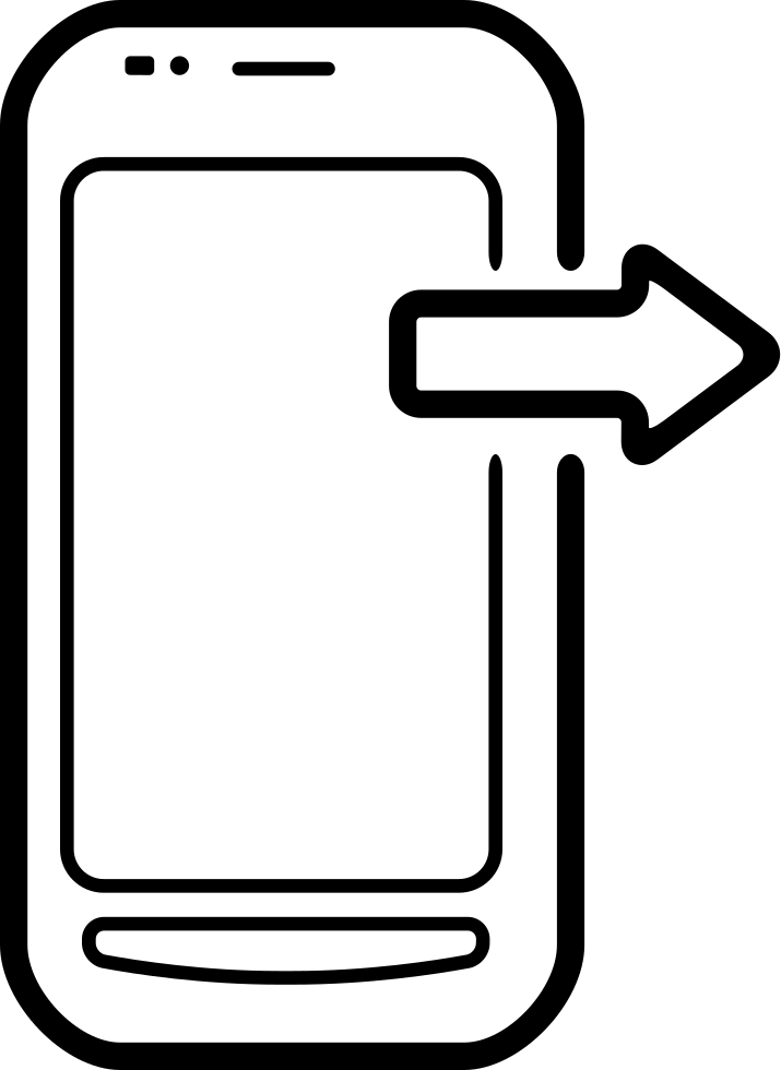 Mobile Phone With An Arrow Pointing Right