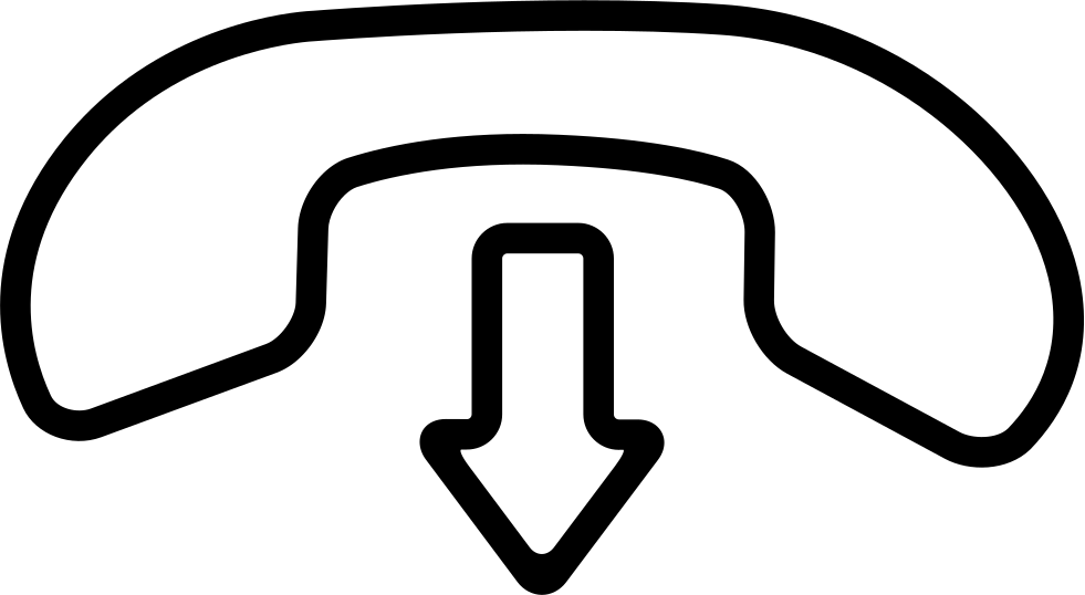 Hang Call Interface Symbol Of An Auricular And An Arrow Pointing Down