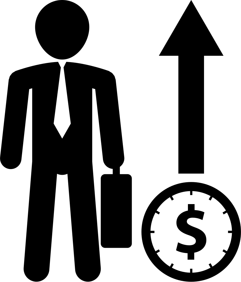 Businessman With Suitcase With Dollar Symbol And Arrow Up