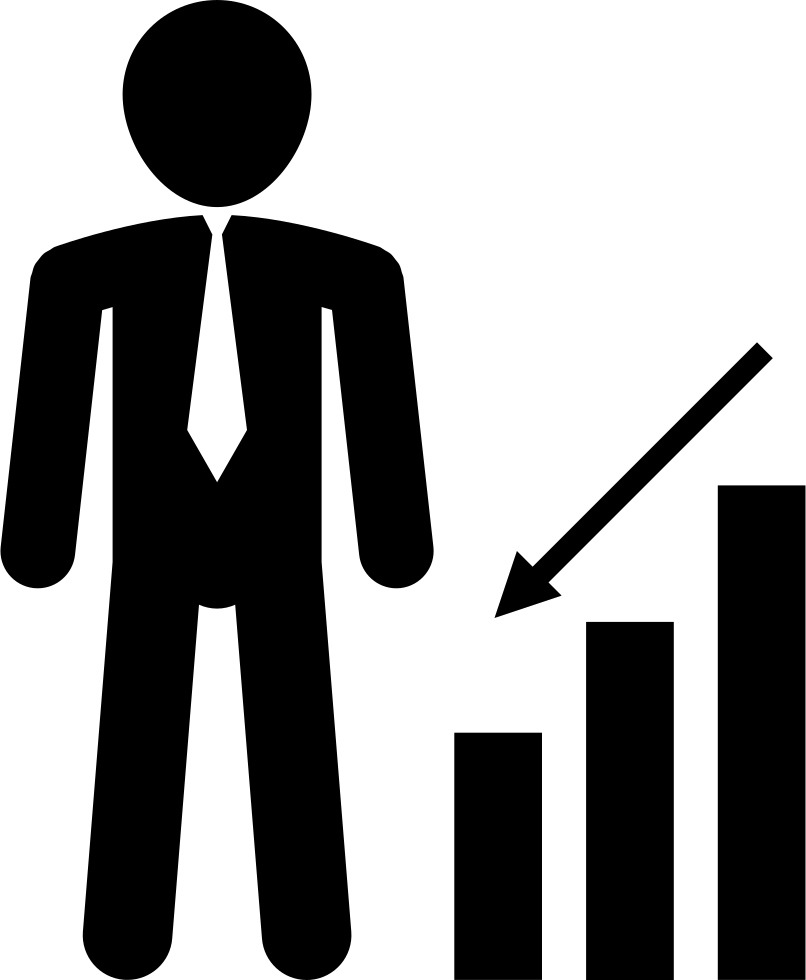 Businessman With Down Arrow And Bar Graph
