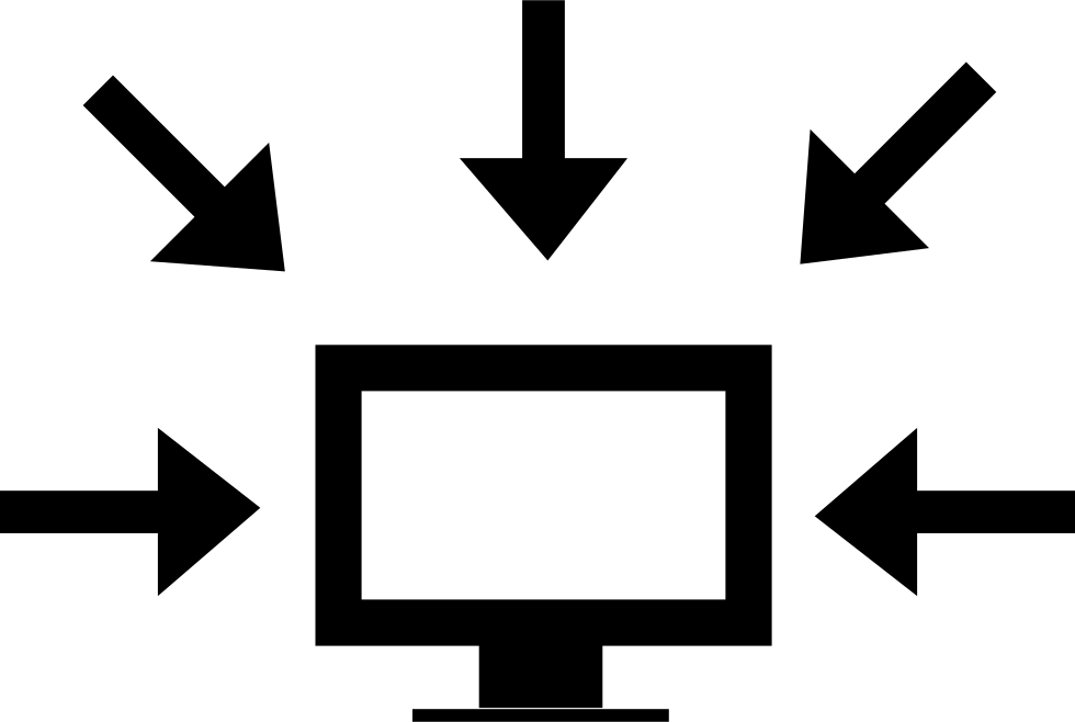 Computer Data Interface Symbol Of A Monitor Surrounded By Arrows Pointing To It