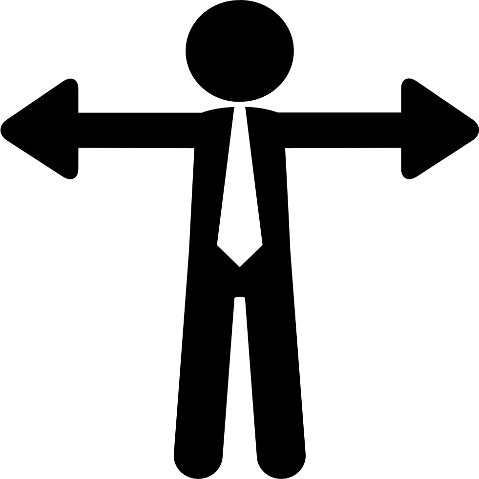 Businessman With Arms Like Opposite Arrows Of Options