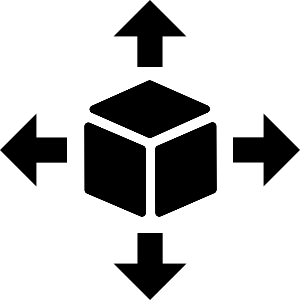 Delivery Cube Box Package With Four Arrows In Different Directions