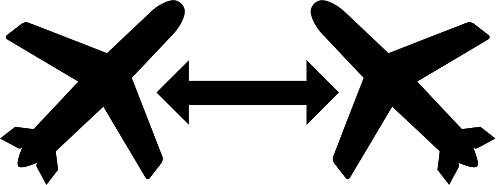 Two Mirroring Airplanes Symbol With Double Arrow In The Middle Svg