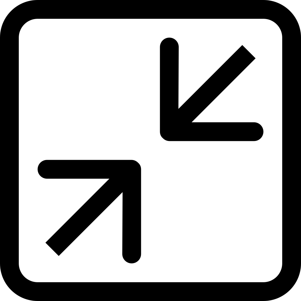 Contract Two Arrows Symbol Pointing The Center Of Square Button