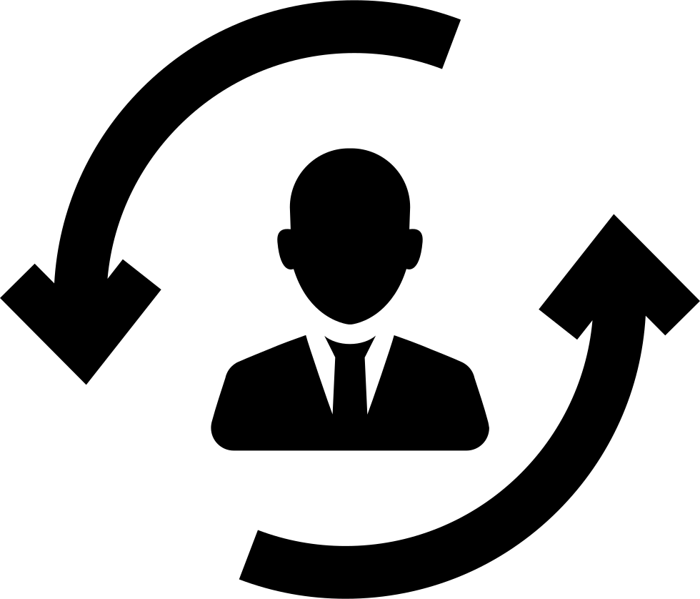 Man Between Two Circular Rotating Arrows