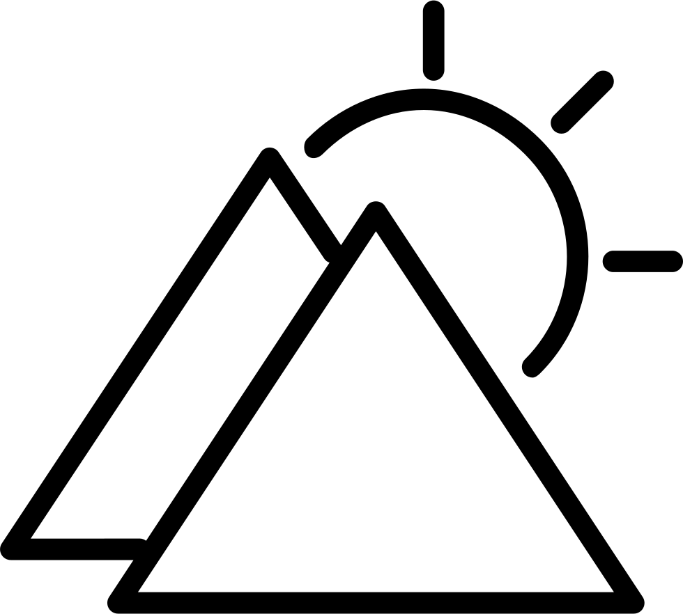 Sunny Day Symbol Outline With Triangular Mountains