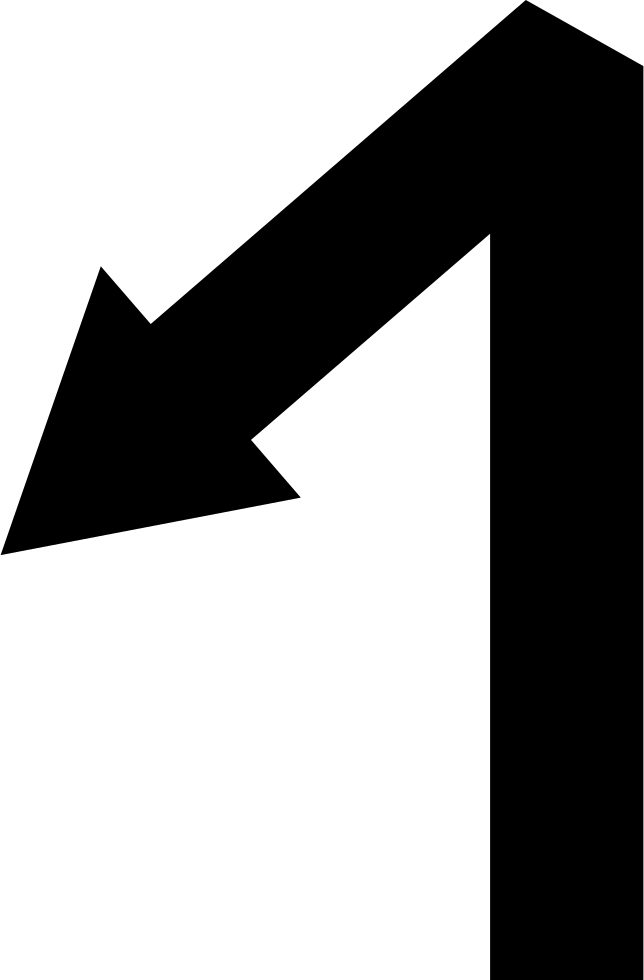 Left Down Arrow Symbol With One Angle