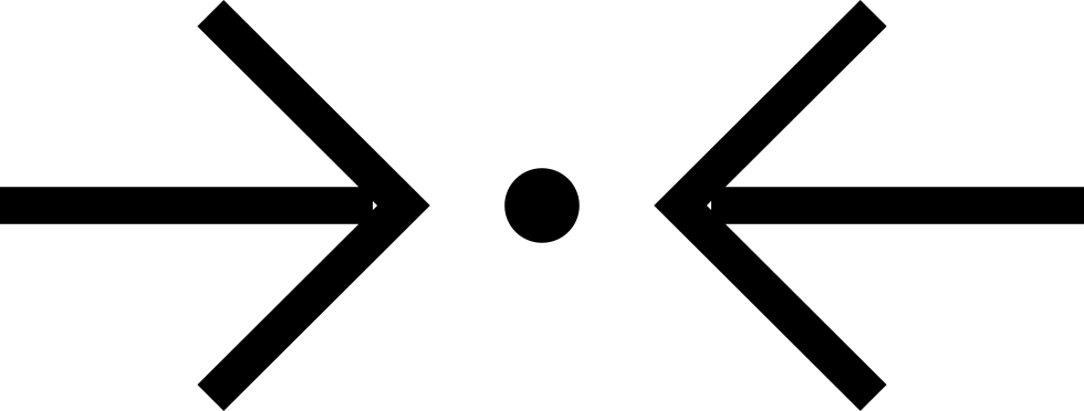 Two Horizontal Arrows Pointing A Dot In The Middle Of Them