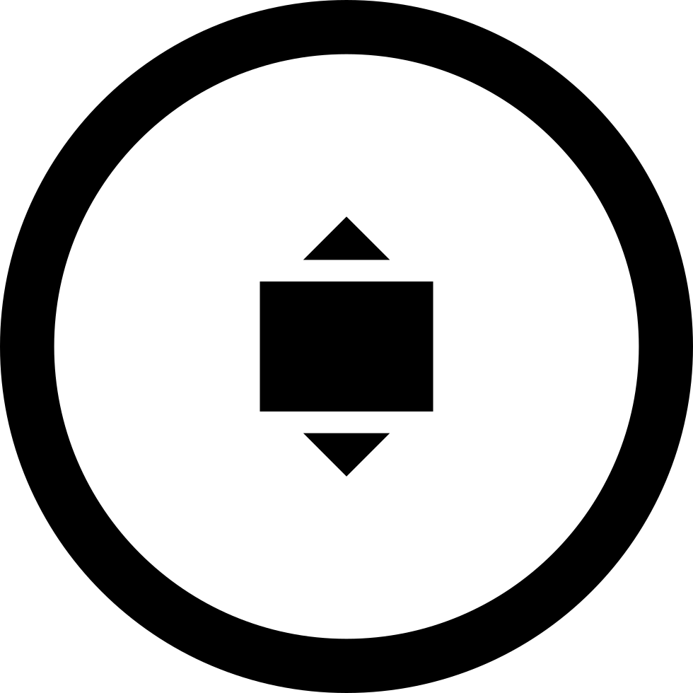 Expand With Arrows In Vertical Symbol In Circular Button
