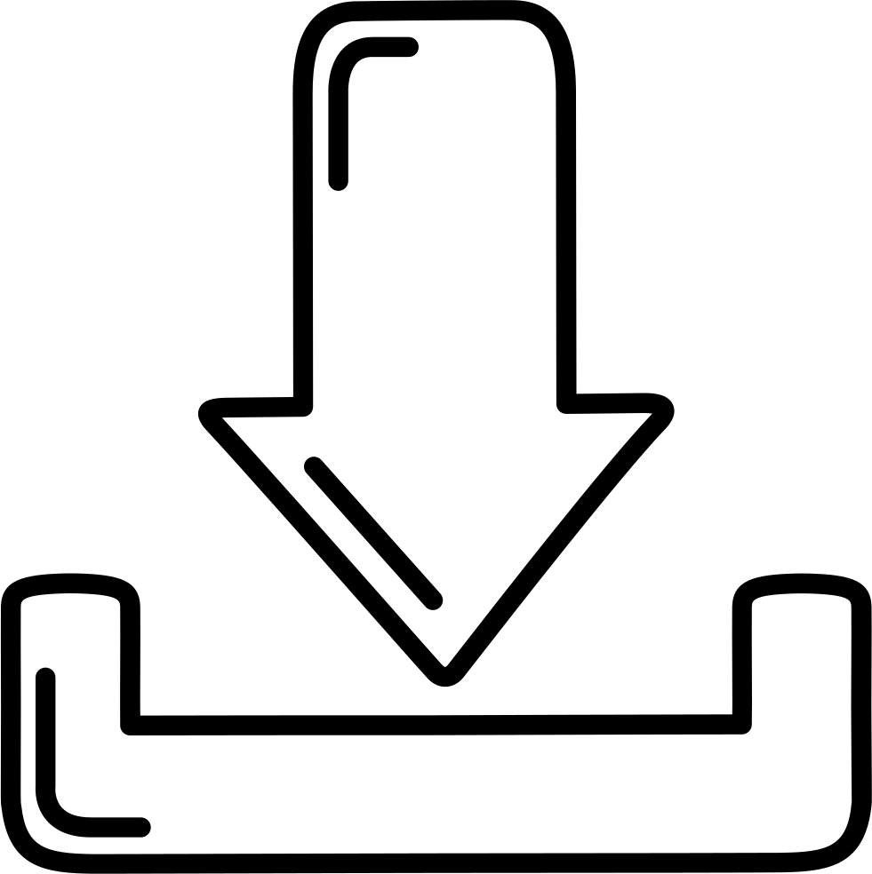 Download Down Arrow And Tray Outlines